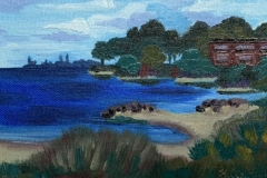 """Along the Shore"", oil on canvas panel, 5 in x 7 in, 2017, $175+tax"