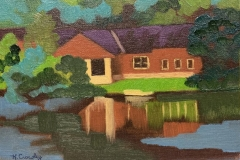 """Red House Along the Scioto"", oil on canvas panel, 6 in x 8 in, $240+tax"