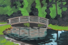 """Whetstone Foot Bridge"", oil on canvas panel, 8 in x 6 in, 2018, $240+tax"